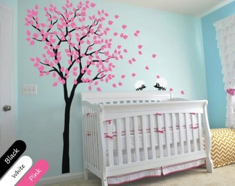 Nursery Tree Wall Decal with Hedgehogs and Leaves, Nursery Wall Decoration - Wall Tree Decals - 014