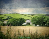 Old House on The Hill, Scenic Irish LANDSCAPE, Travel Photography, PORTAFERRY, Co. Down, Northern IRELAND, Rustic Decor, Colorful, Textured