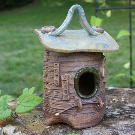 Decorative Birdhouse Whimsical Stoneware Birdhouse Ceramic