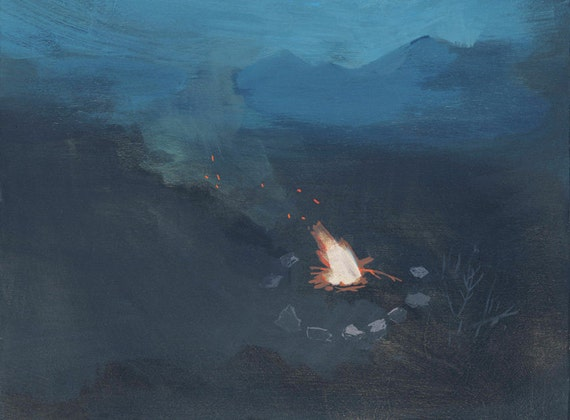 Around the Fire - limited edition art print from original painting