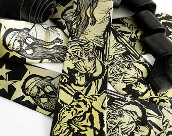 Tiger Necktie, Gas Mask Necktie, Tiger Tie, Post Apocalyptic Clothing, Goth, Punk Clothing
