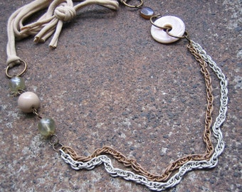 Eco-Friendly Soft T Shirt Yarn Necklace - Creme Brûlée - Recycled Vintage Enamel Chain, Plastic and Glass Beads in Cream, Tan and Cocoa
