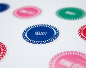 Assorted Round stickers set - Birthday Stickers, Hello stickers - Favor Tags - Thank you label  - French words-  Dollies theme