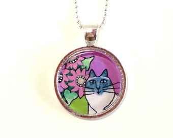 Himalayan Cat Jewelry SALE/ Blue Point Himmy Glass Pendant in Lavender by Susan Faye