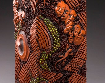 PRICE REDUCED !!!!Ceramic Sculpture Journey Puzzle Box (you must click on this piece to see the entire sculpture)