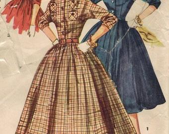 1950s Simplicity 4828 Vintage Sewing Pattern Misses Shirtwaist Dress Size 16 Bust 34