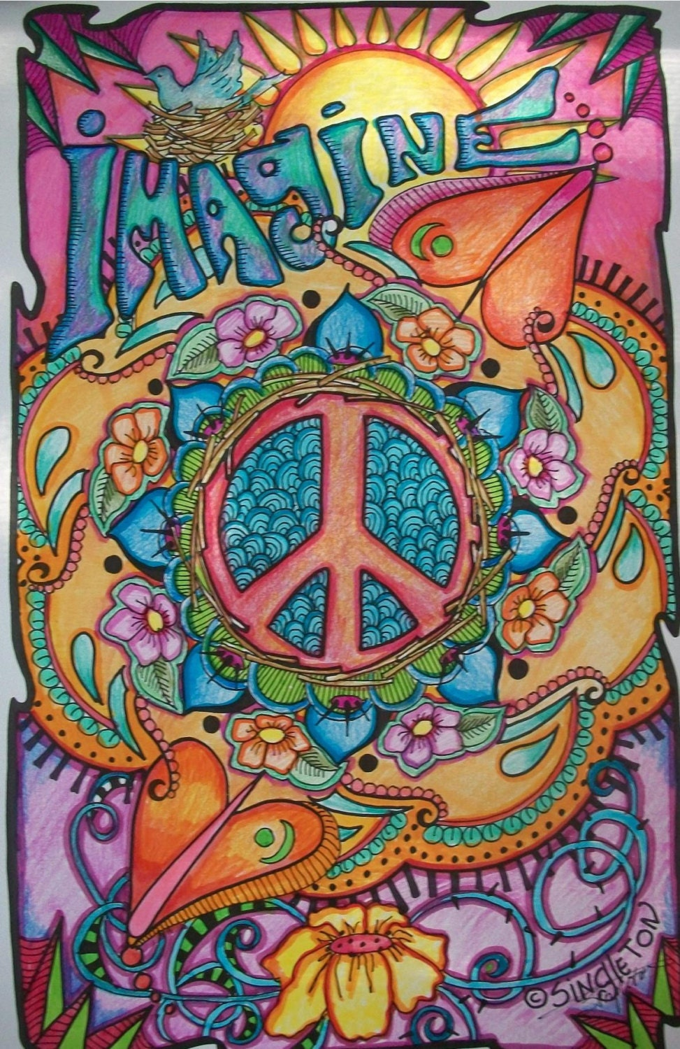 Imagine Peace and Love Singleton Hippie Art Poster Fully