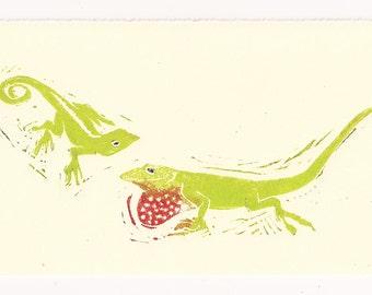 Block Print -Green Lizard Love X2 Linocut Artist Print