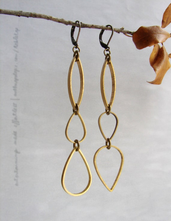 Geometric drop earrings, teardrop dangle earrings, open almond shaped drop earrings, Geometric statement earrings