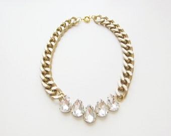 Crystal Teardrop & Matte Gold Chain Necklace