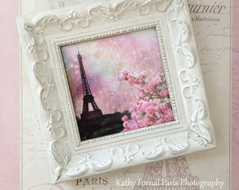 Paris Pink Photo With Frame, Paris Pink Eiffel Tower Print, Shabby Chic Decor, Eiffel Tower Shabby Chic White Frame, Paris Shabby Cottage