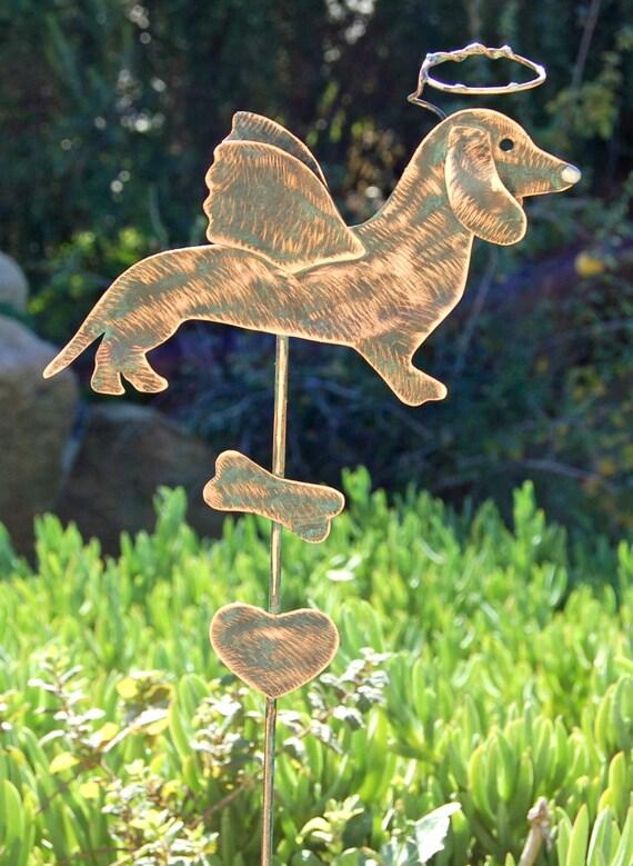 dachshund lawn ornament angel pet memorial plant stake metal
