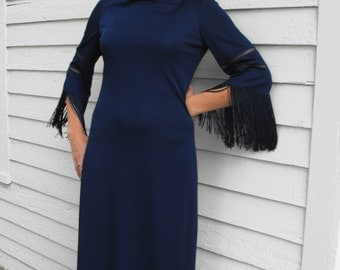 Blue Fringe Dress Hippie Maxi Vintage 70s Retro Long S