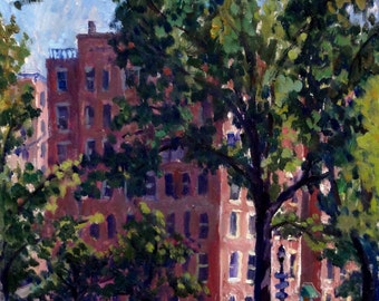 From Inwood Hill Park, NYC. Original Oil Cityscape, 9x12 Framed Oil on Panel, Urban Impressionist New York City Fine Art, Signed Original