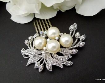 Bridal Hair Comb, bridal hair accessory, Ivory Pearls Hair Comb, Wedding Hair Comb, Pearl Hair Comb, Statement bridal Hair Comb,  JULIE