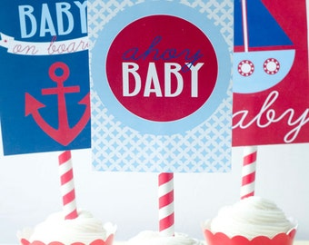 Preppy Nautical Baby Shower PRINTABLE 5x7 Party Signs (INSTANT DOWNLOAD) by Love The Day