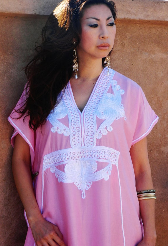 Pink  Resort Caftan Kaftan -Kaftan, Caftan,resortwear, beach cover up, loungewear, maxi dresses, birthdays, honeymoon, maternity gifts