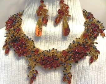 Amber Beaded Necklace with Matching Earrings (Amber#A-6)