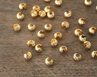 5mm Crimp Bead Covers, Corrugated Knot Cover, Gold Plated, multiple packet sizes available  (948FD)