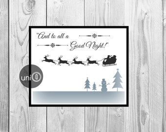 Night before Christmas Print, Wall Art Print, 8x10 Digital Print, INSTANT DOWNLOAD