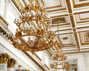 Chandelier Photography - Hermitage Museum Print - Elegant Home Decor Dining Room Wall Art Gold Crystal White Ornate Ceiling Columns