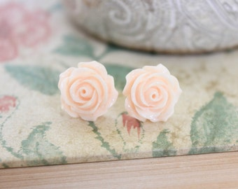 Light Peach Rose Earrings Flower Stud Earrings Surgical Steel Posts Flower Jewelry Floral Accessories Nickel Free Studs Floral Jewelry