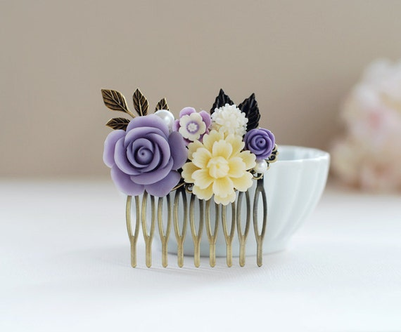 Purple Ivory Flower Hair Comb Purple Wedding Hairpiece Bridal Hair Comb  Bridesmaid Gift  Vintage Wedding Country Wedding Headpiece
