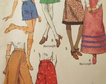 Vintage Simplicity 9516 Sewing Pattern, 1970s Skirt Pattern, Wide Leg Pants, Gauchos, 1970s Sewing Pattern, Waist 25 and a Half