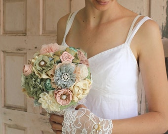 brooch bouquet,  fabric flowers bouquet, bridal bouquet DEPOSIT