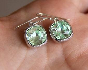 Peridot Earrings with Old Mine Cut Swarovski Crystals - Bridesmaids Earrings