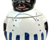 vtg flour/sugar/cookie jar, black americana, chef, chef cookie, vtg collectible kitchenware, free u.s. shipping
