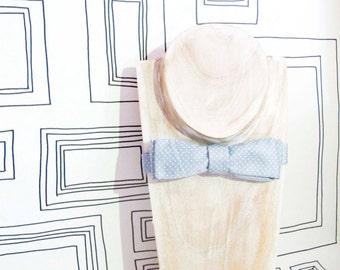 Soft pastel blue polka dots batwing bow tie, valentine's bowtie