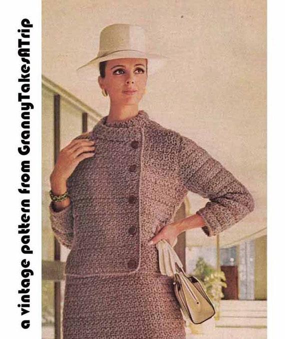 1960s SMART 2 PIECE SUIT Vintage Crochet Pattern, Asymmetric Crop Jacket & Pencil Skirt, Chanel Style Instant Pdf from GrannyTakesATrip 0038