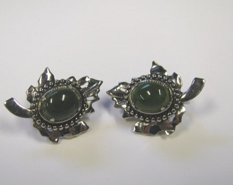Vintage Silver tone Maple Leaf Faux Jade Clip on Non Pierced Earrings
