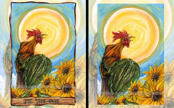 Rooster Print, Sunflower Decor, Sun Tarot Card, Any Size, Bird Lover, Chicken Gift, Farm Animal Art, Sunshine Wall Art, Animism Tarot Deck