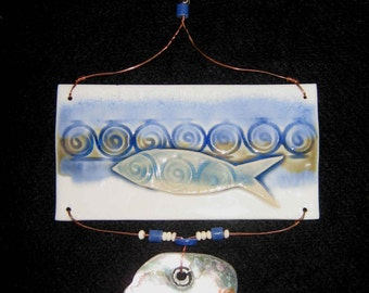 LIGHTCATCHER, PORCELAIN: Fish and Abalone design, Ceramic Hanging by Zola de Firmian