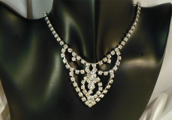 Ornate Rhinestone Bridal Necklace - Long Drop, Wedding Choker, Rhinestone Necklace, Bridal Choker, Stage Performance, Pageant Formal Mad Men