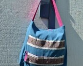 Large French Paris Tote Bag teal blue vintage inspired ribbon gray magenta rose shabby chic market cotton canvas crayon Fall Summer shopping