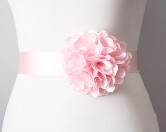 Pink Flower Sash Belt Wedding Dress Sashes Belts - Bridesmaids Flower Girl Light Pink Flower Ribbon Belt