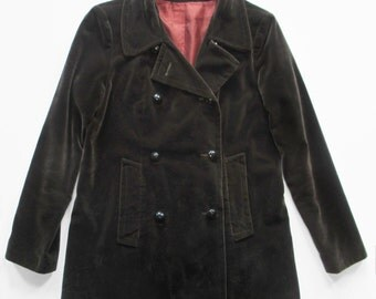 1970s Chocolate Velveteen Peacoat