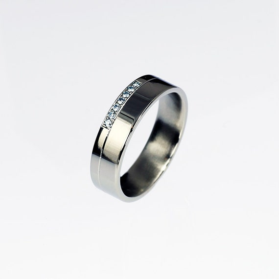 Palladium Wedding Band Blue Diamond Ring Mens Diamond Band