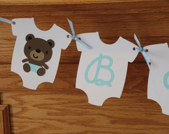 Teddy Bear Baby Shower Banner - Baby Boy Banner - Blue Banner