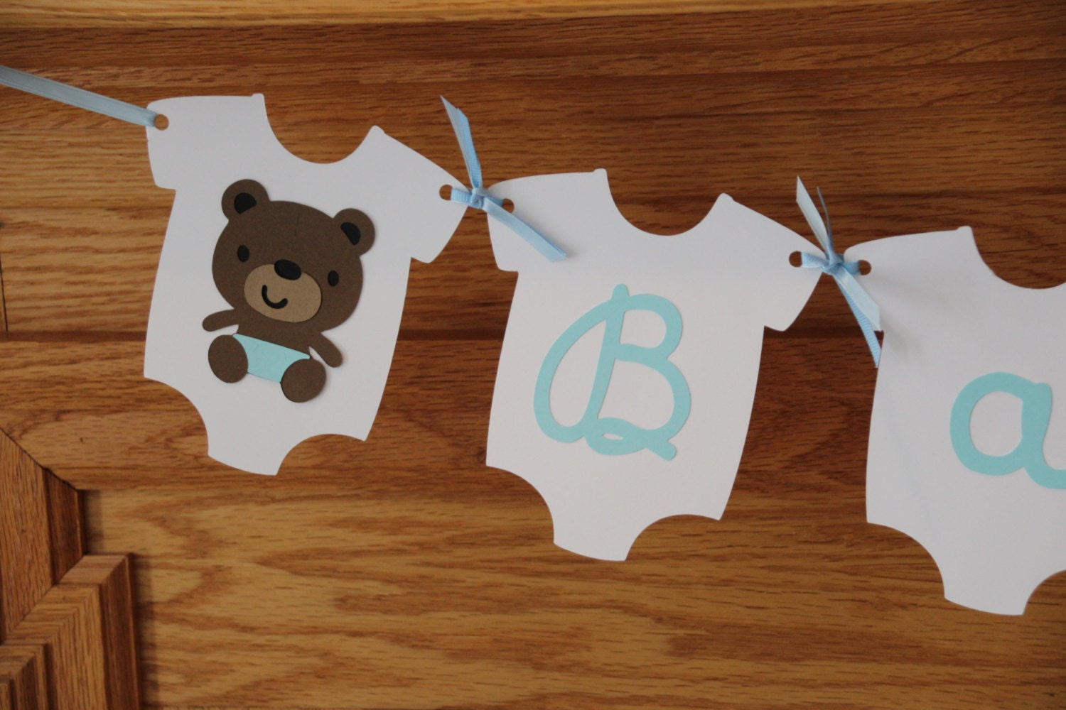 teddy bear baby shower banner baby boy banner blue banner