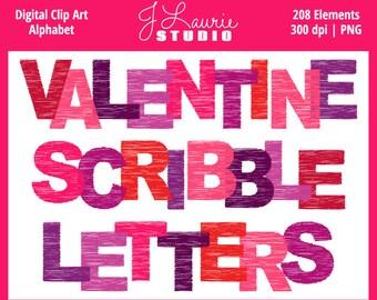 Digital Alphabet Letters Clipart-Valentine Scribble Alpha Letters-Red-Pink-Valentines Clipart-Scrapbook Letters-Instant Download Clip Art