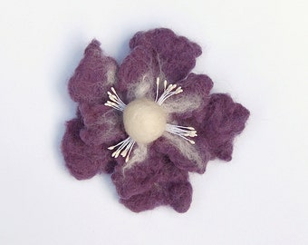 Flower brooch, felted jewelry, clothing decoration, wet felted wool flower, gifts for her, lila with white, felt flower hair clip