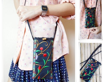 Phone neck pouch Flower, Cell Phone Bag 'Plum Blossom' Embroidered Quilted Cotton, Long Strap Handmade (KP1183)
