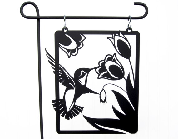 Hummingbird garden hanging metal sign by refinedinspirations for Outdoor decorative signs