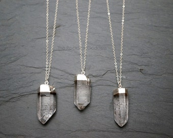 Quartz  Necklace // Quartz Crystal // Raw Quartz // Crystal Necklace // Silver Quartz  // Silver Dipped Quartz