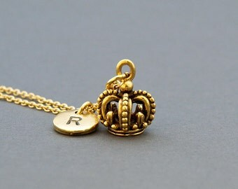 Crown charm necklace, personalized crown necklace, antique gold, initial necklace, initial hand stamped, personalized, monogram