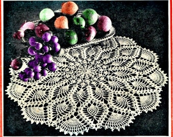 Pineapple Crochet Doily Pattern, Circa 1961
